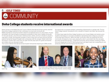 Doha College students receive international awards