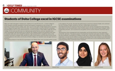 Doha College sets new standards with best (I)GCSE results in Qatar